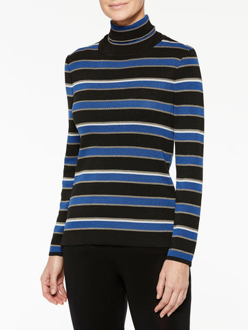 Multistripe Turtleneck Sweater