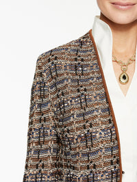 Multi Tweed Jacket Color Sierra/Biscotti/Venetian Blue/Ivory Premium Detail