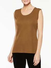 Plus Size Sierra Brown Classic Knit Scoop Neck Tank Top Color Sierra