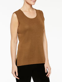 Plus Size Sierra Brown Classic Knit Scoop Neck Tank Top Color Sierra Premium Detail