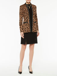 Plus Size Leopard Print with Chain Detail Jacket Color Sierra/Black/Biscotti