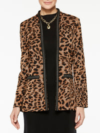 Leopard Print with Chain Detail Jacket Color Sierra/Black/Biscotti