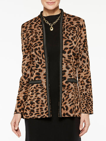 Leopard Print with Chain Detail Jacket