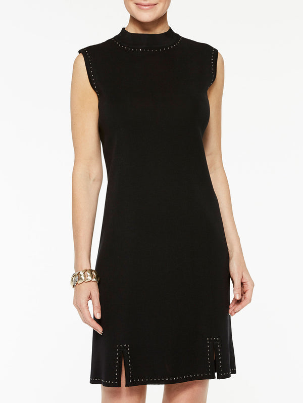 Mock Neck Stud Trim Sheath Dress Color Black