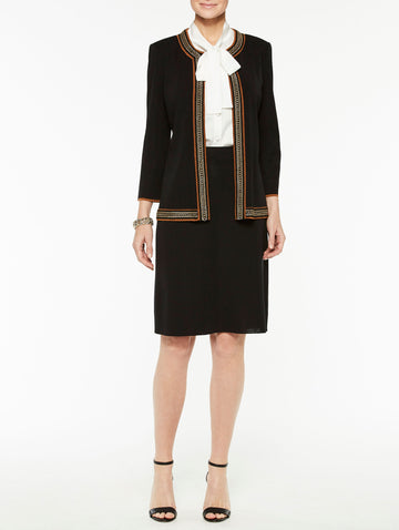 Classic Knit Jacket with Chain Trim