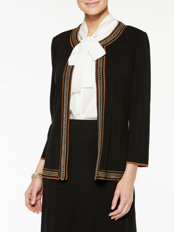 Plus Size Classic Knit Jacket with Chain Trim Color Black/Sierra