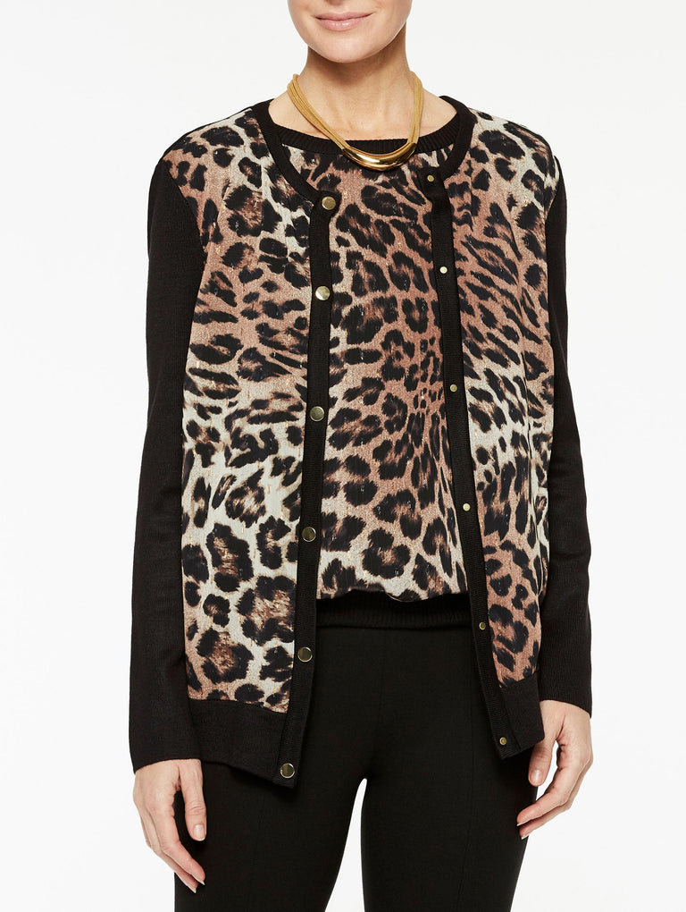 Leopard Georgette and Knit Cardigan Color Black/Biscotti/Sierra