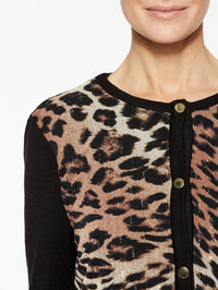 Leopard Georgette and Knit Cardigan Color Black/Biscotti/Sierra Premium Detail