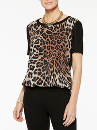 Leopard Georgette and Knit Tee Color Black/Biscotti/Sierra