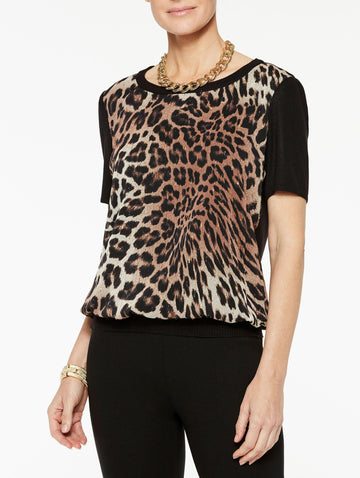 Leopard Georgette and Knit Tee