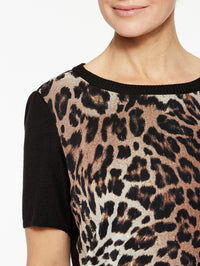 Leopard Georgette and Knit Tee Color Black/Biscotti/Sierra Premium Detail