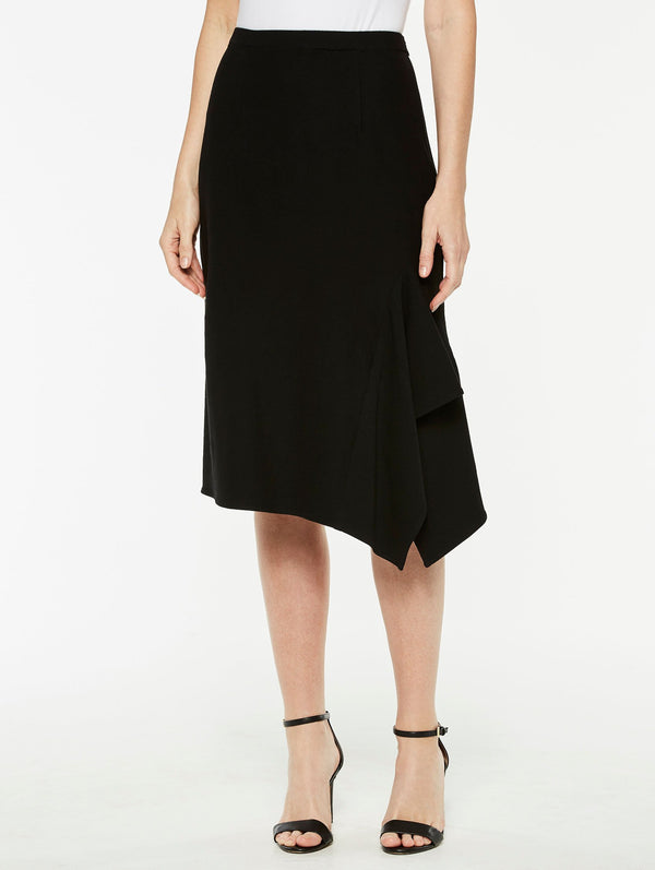 Stretch Crepe Side Drape Skirt in Color Black
