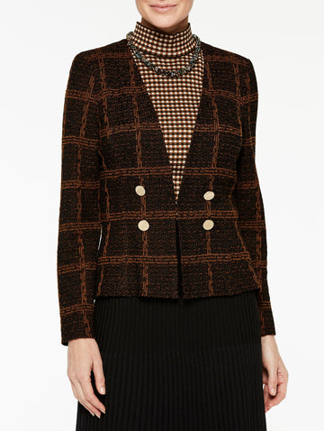 Plaid Double Button Tweed Jacket