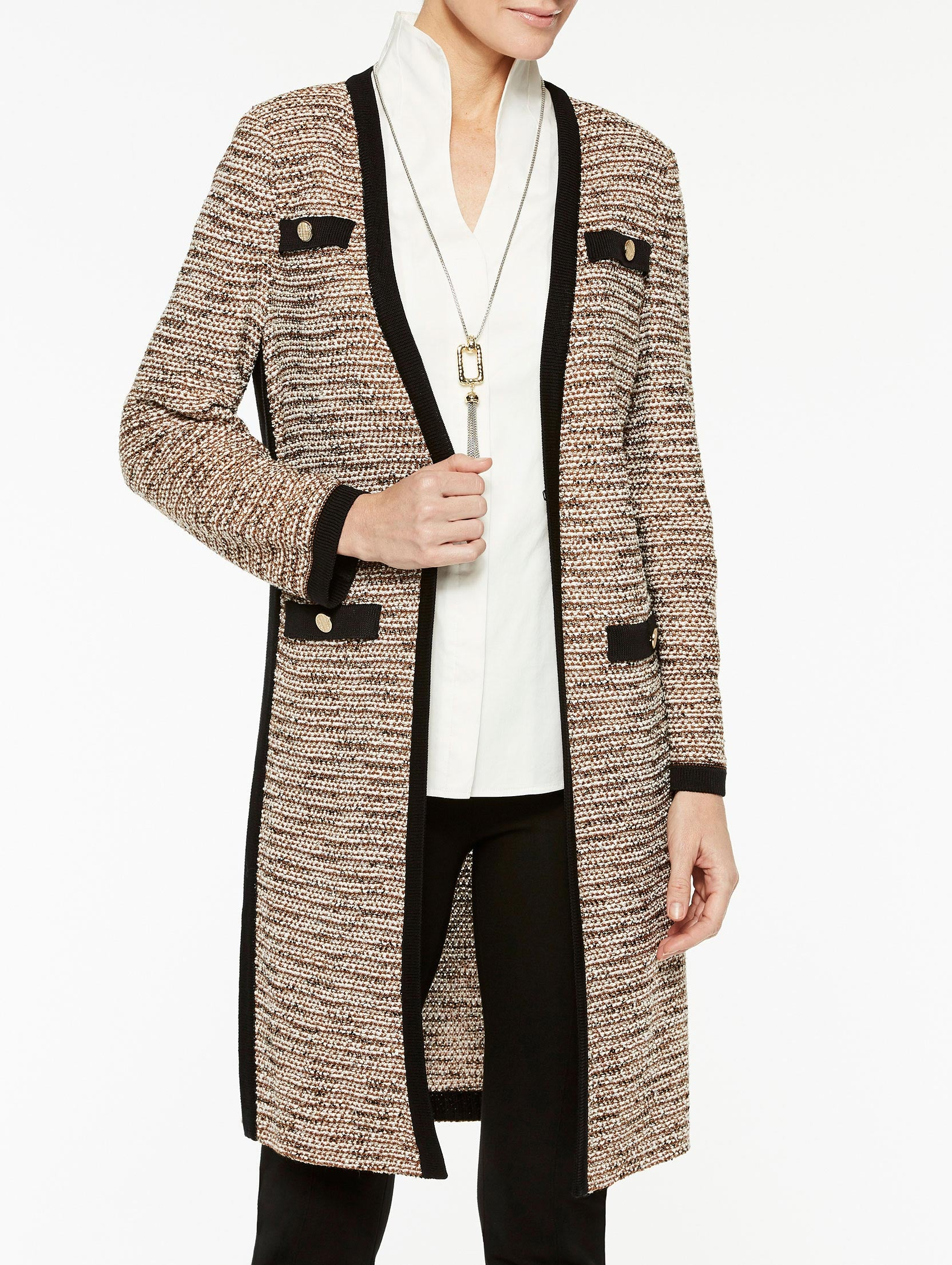 Faux Pocket Tweed Duster Color Sierra/Biscotti/Black/Ivory