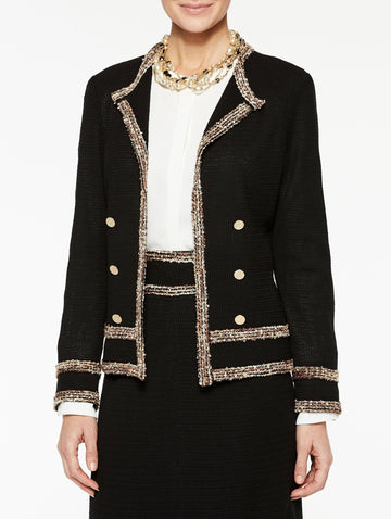 Multicolored Trim and Button Jacket