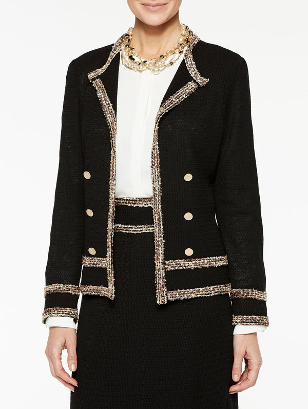 Multicolored Trim and Button Jacket Color Black/Sierra/Biscotti/Ivory
