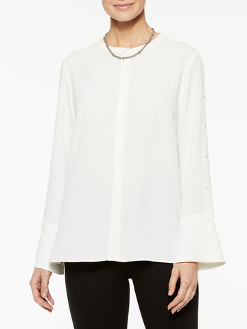Button Sleeve Detail Crepe de Chine Blouse