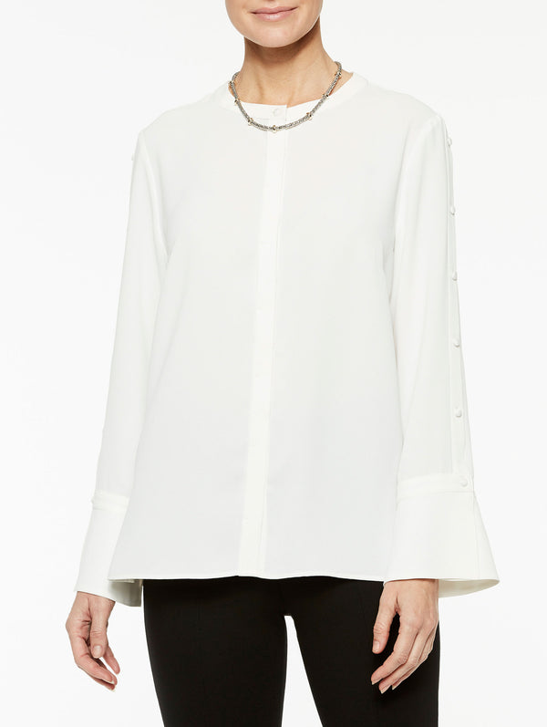 Button Sleeve Detail Crepe de Chine Blouse Color White