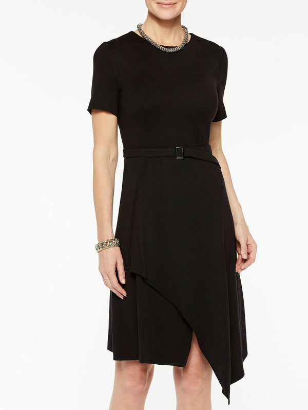 Soft Knit Drape Hem A-line Dress Color Black