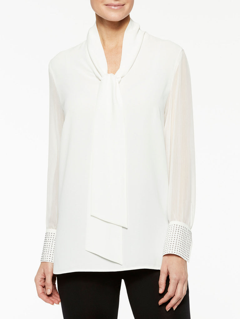Sheer Sleeve Trim Cuff Blouse Color White