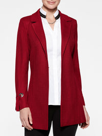 Grommet and Tie Cuff Crimson Red Jacket Color Crimson Red