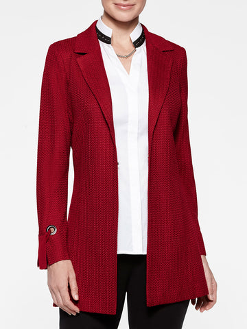 Grommet and Tie Cuff Crimson Red Jacket
