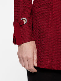 Grommet and Tie Cuff Crimson Red Jacket Color Crimson Red Premium Details