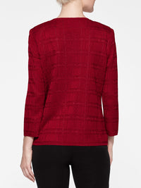 Ring Hem Trim Jacket Color Crimson Red
