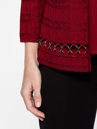 Ring Hem Trim Jacket Color Crimson Red Premium Details