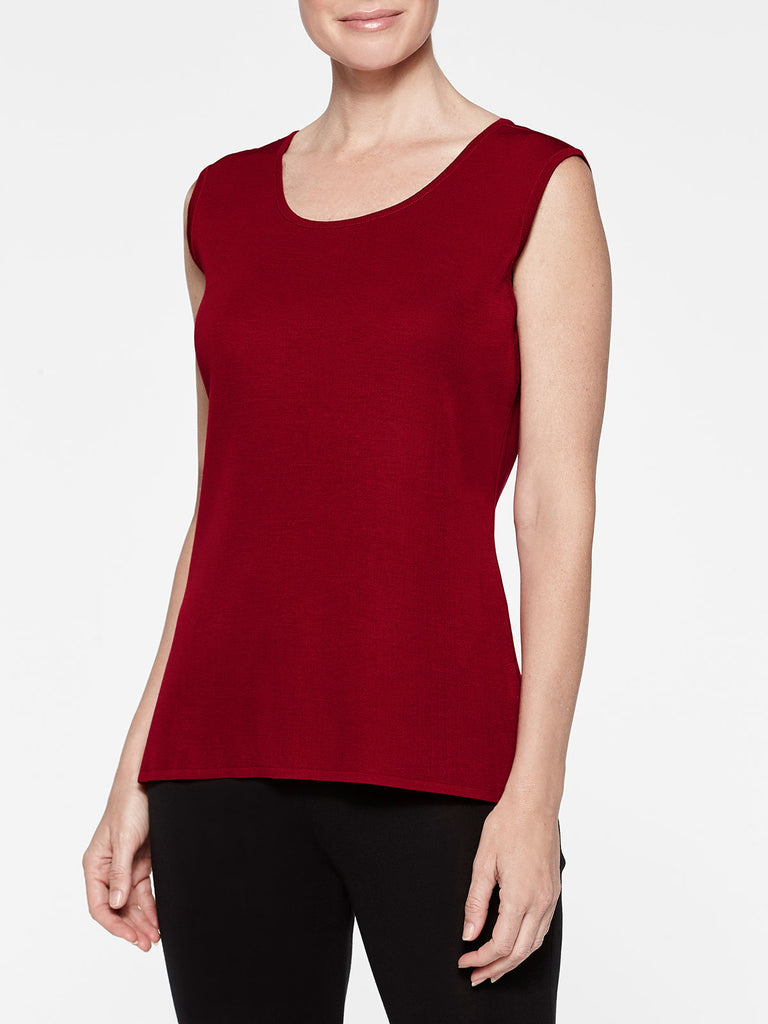 Crimson Red Classic Knit Scoop Neck Tank Top Color Crimson Red