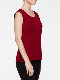 Crimson Red Classic Knit Scoop Neck Tank Top Color Crimson Red Premium Details