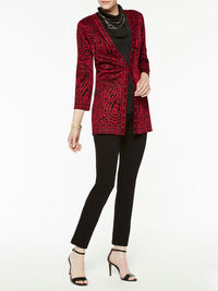 Paisley and Stud Trim Jacket Color Crimson Red/Black