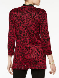 Plus Size Paisley and Stud Trim Jacket Color Crimson Red/Black