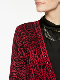 Plus Size Paisley and Stud Trim Jacket Color Crimson Red/Black Premium Details