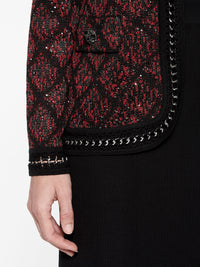 Plus Size Crochet Metal Trim Mini Sequin Jacket Color Crimson Red/Black Premium Details