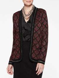 Plus Size Crochet Metal Trim Mini Sequin Jacket Color Crimson Red/Black