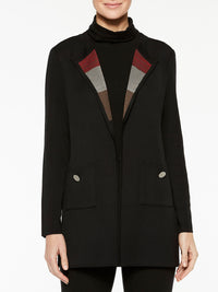 Doubleknit Jacket and Scarf Color Black/Crimson Red/Mink Grey/Hickory Brown