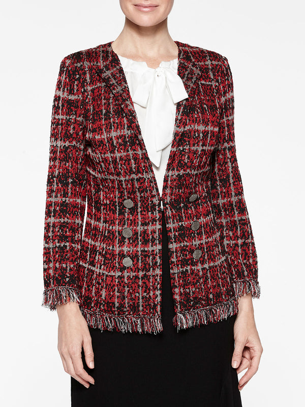 Tweed and Fringe Plaid Jacket Color Crimson Red/Black/Mink Grey