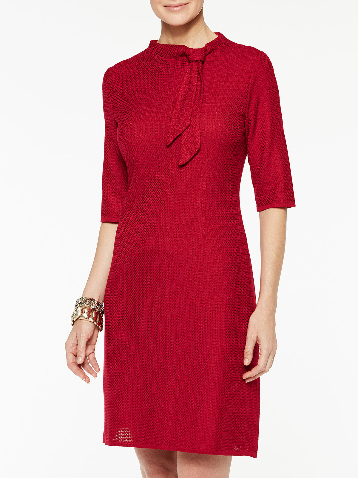 Scarf Tie Sheath Dress Color Crimson Red