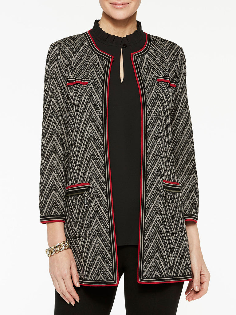 Chevron Knit Jacket Color Mink Grey/Black/Crimson Red