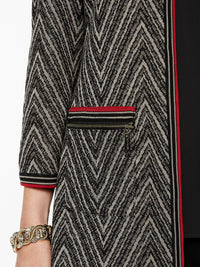 Chevron Knit Jacket Color Mink Grey/Black/Crimson Red Premium Details