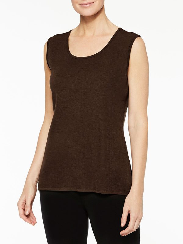 Plus Size Hickory Brown Classic Knit Scoop Neck Tank Top Color Hickory Brown