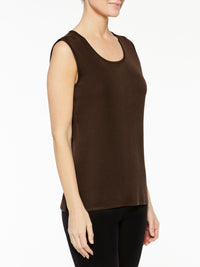 Hickory Brown Classic Knit Scoop Neck Tank Top Color Hickory Brown Premium Details