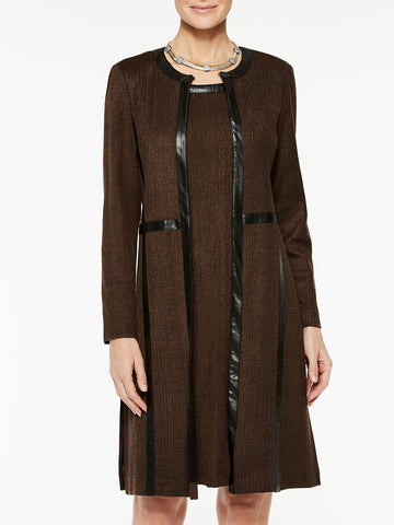 Plus Size Knit Coat with Faux Leather