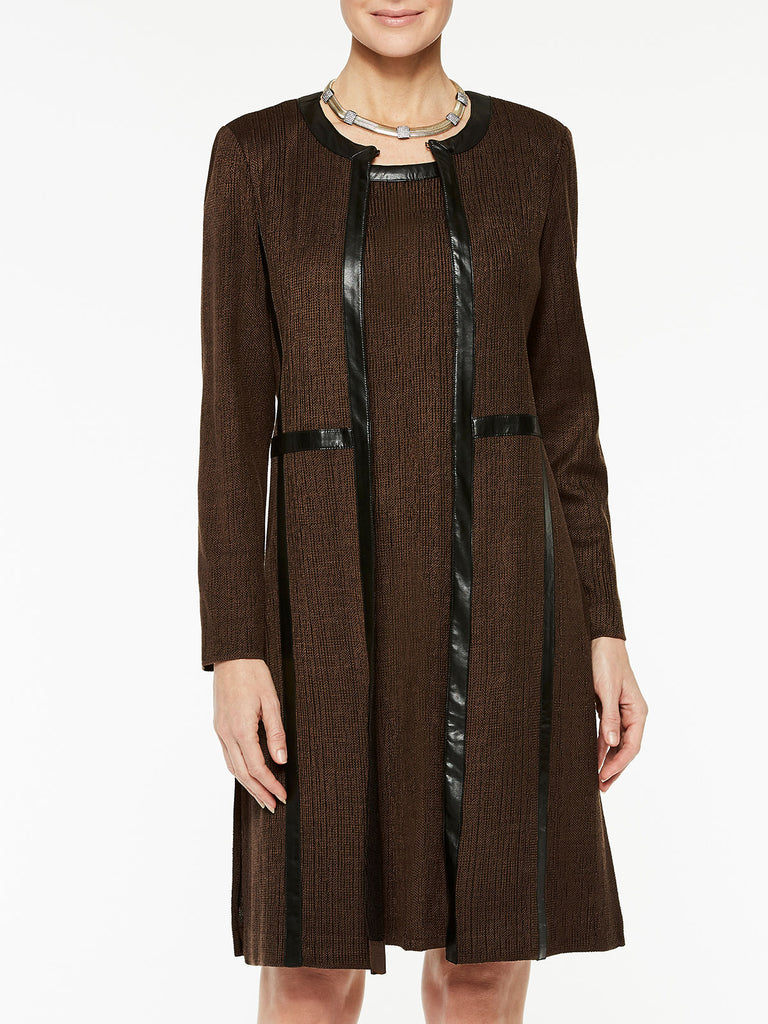 Plus Size Knit Coat with Faux Leather Color Hickory Brown/Black