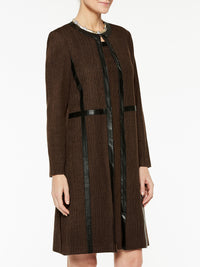 Knit Coat with Faux Leather Color Hickory Brown/Black