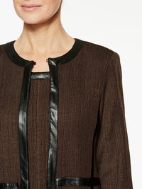 Knit Coat with Faux Leather Color Hickory Brown/Black Premium Details