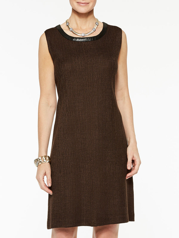 Knit Dress with Faux Leather Color Hickory Brown/Black
