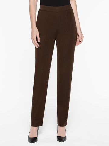 Straight Leg Knit Pant, Hickory Brown