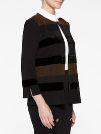 Velvet Stripe Jacket Color Black/Hickory Brown